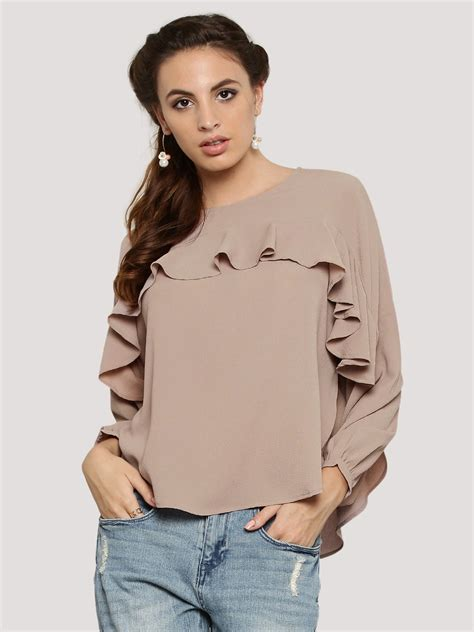 Top Ruffle buy femella oversized ruffle top for s brown