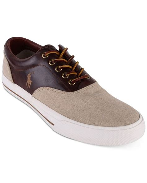 polo ralph mens sneakers polo ralph s vaughn saddle sneakers in beige
