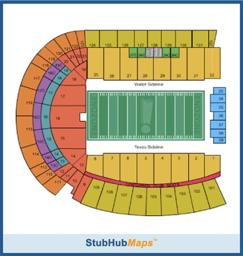university of texas stadium map texas football darrell k royal texas memorial stadium espn