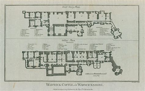 warwick castle floor plan old and antique prints and maps warwick castle plan 1786