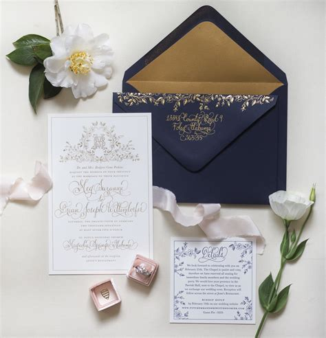 Wedding Invitation Paper by Regal Navy And Gold Foil Calligraphy Wedding Invitations