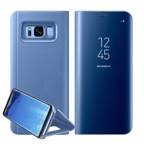 Samsung S8 Plus Smart Clear View Flip Mirror Cover Autolock 30 new samsung galaxy s8 plus note8 clear view mirror leather flip stand cover ebay