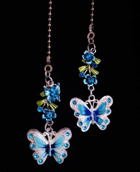 ceiling fan pull chain set butterfly flower nature ceiling fan light pull chain set b 17