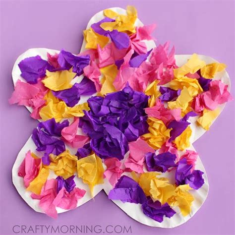 Flower Tissue Paper Craft - paper plate flower craft using tissue paper motor