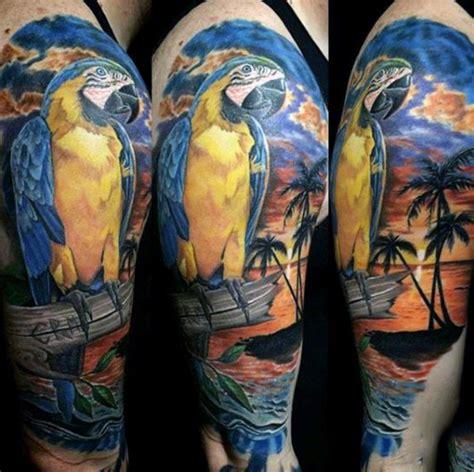 tropical quarter sleeve tattoo 75 beach tattoos for men serene sandy shore designs