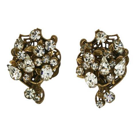 original by robert 1950s vintage rhinestone earrings for