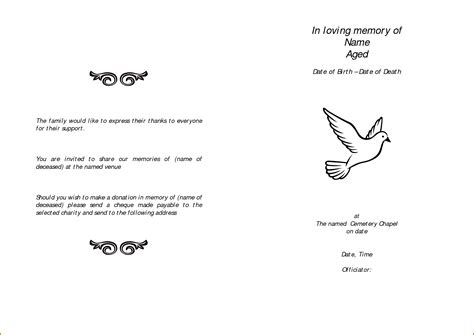 cemetery receipt template 11 free funeral program templates authorizationletters org