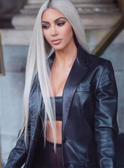kim kardashian grey blonde hair kim kardashian hairstyle long straight synthetic hair lace