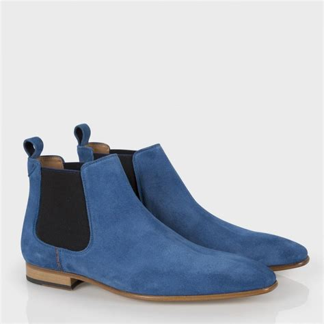 blue boots paul smith s blue suede falconer chelsea boots in