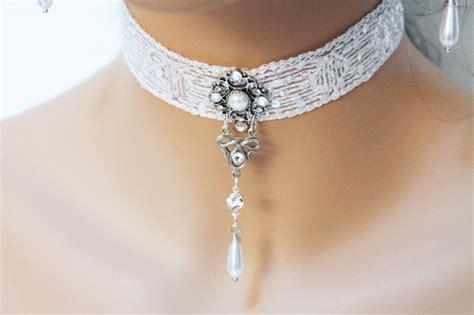 Xylia White Lace Choker W Charm white lace choker necklace jewelshart