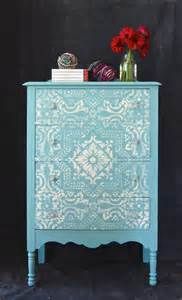 blue mediterranean painted and stenciled