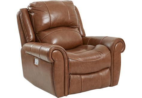 power recliners leather lancaster heights brown leather power plus recliner