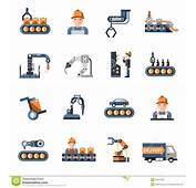 Production Line Icons Stock Vector Image Of Quality