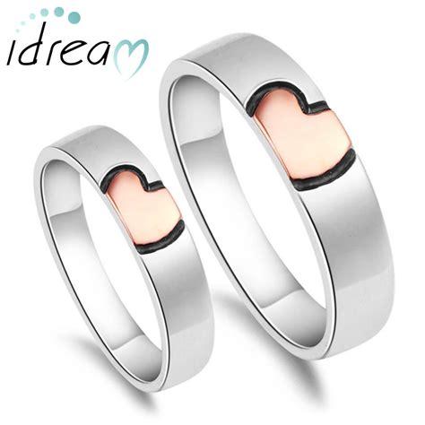 Rose Gold / Pink   Black Heart Couple Rings Set for Women