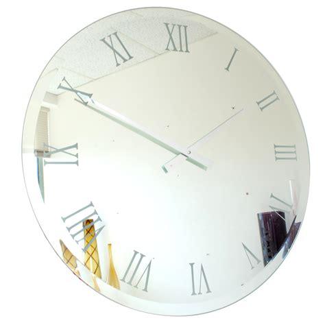 roco verre bevelled mirror wall clock 65cm 85cm