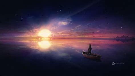 wallpaper exploring ocean sunset hd creative graphics