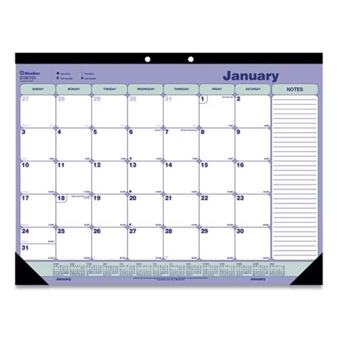 desk pad calendar    blue white green