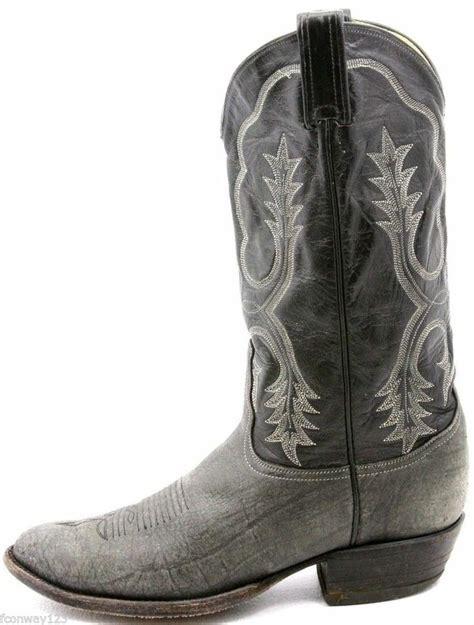 tony lama mens cowboy boots size 9 5 e black gray sanded