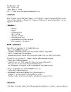 boilermaker resume template professional boiler operator templates to showcase your