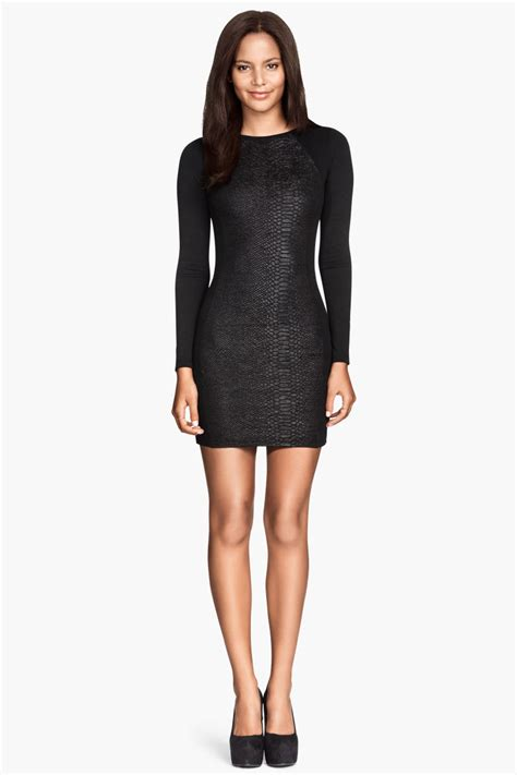 H M Jersey Comfortable jersey dress black snakeskin patterned sale h m us