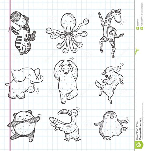 doodle animals vector free doodle animal icons royalty free stock images
