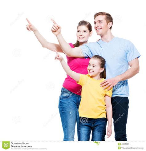 Family It Up by Happy Family With Kid Pointing Finger Up Stock