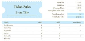 ticket sales tracker template excel templates