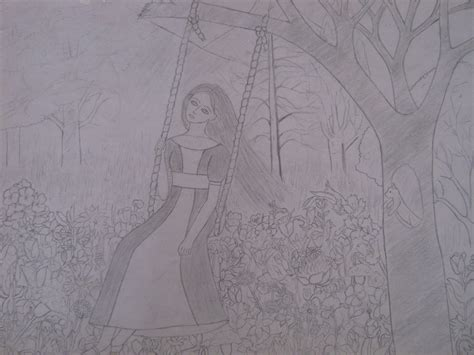 girl on a swing drawing drawing images girl on swing hd wallpaper and background