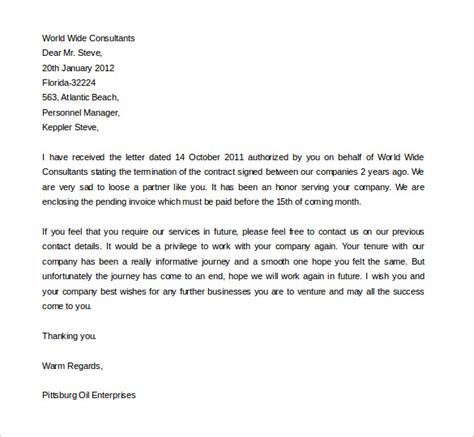 Letter Of Termination Of Employment Contract Sle letter accepting contract cancellation 28 images sle