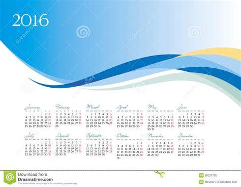 design calendar background vector template of 2016 calendar on blue background stock