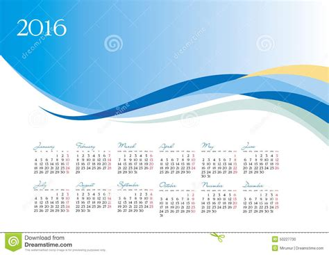 Vector Template Of 2016 Calendar On Blue Background Stock