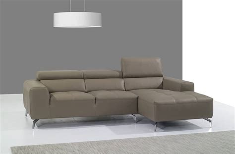 Contemporary Sectionals Beige Italian Leather Upholstered Contemporary Sectional