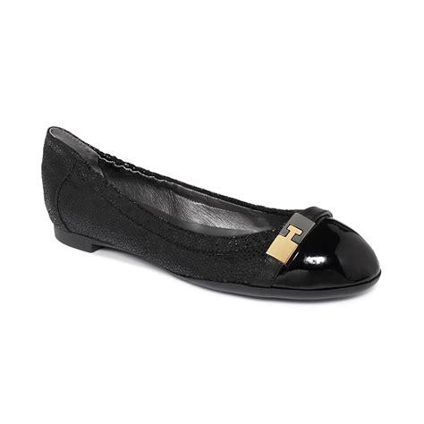 tahari flat shoes tahari primo ballet flats in black black sting lyst