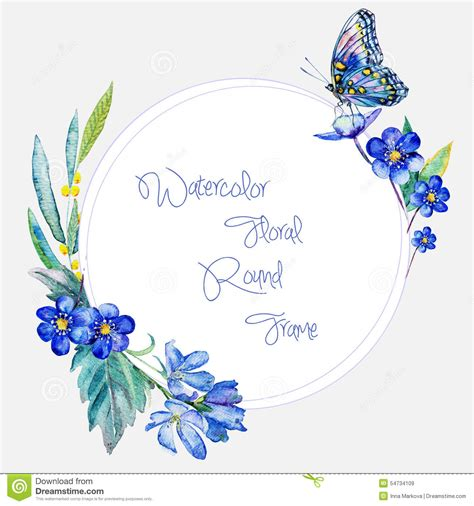 any design of flowers watercolor round frame of blue flowers and butterfly