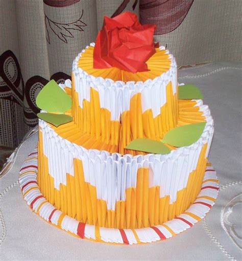 Origami Birthday Cake - 3d origami cake ideas and designs