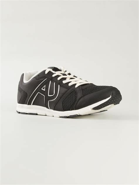 armani sneakers for armani logo sneakers in black for lyst