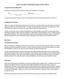 trust agreement template doc 400518 living trust form living trust form sle