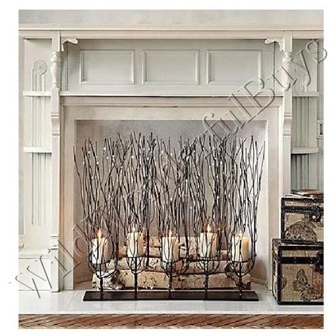 candle fireplace screen twisted wire tree branch candle holder twig 30 quot brown
