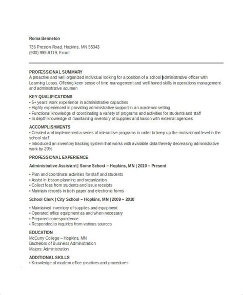 Administrative Officer Resume Pdf by 17 Professional Administrative Resume Templates Pdf