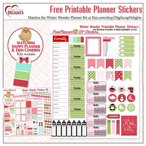 printable free planner stickers christmas gingham scrapbook bundle freebie digital