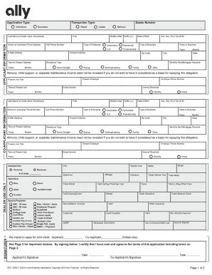 Xpress Credit Application Form Pdf Ally Credit Application Fill Printable Fillable Blank Pdffiller
