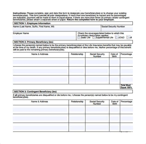 beneficiary form template sle beneficiary release form 9 free