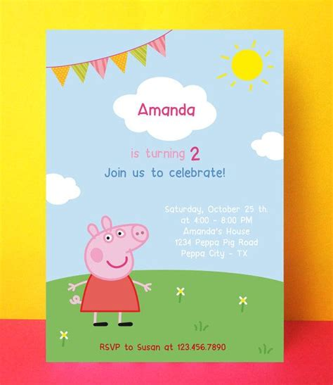 peppa pig birthday card template instant peppa pig invitation card editable