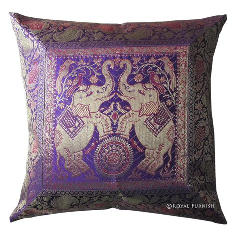 Decorative Elephant Pillows by Blue Decorative Elephant Silk Brocade Throw Accent Pillow