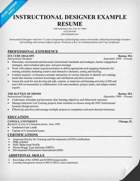 instructional designer resume exle resumecompanion com