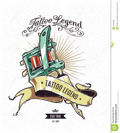 tattoo machine vector download tattoo legend poster stock vector illustration of symbol