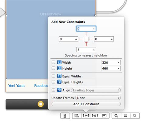 xcode layout view ios add spacing constraint to superview in xcode 5