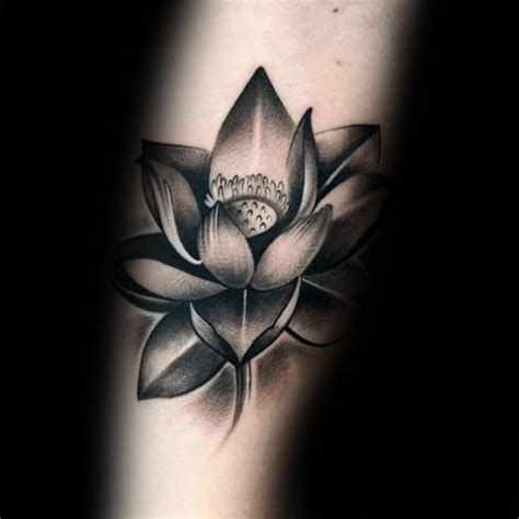 Black And Grey Lotus Tattoo | 42 black grey lotus tattoos designs