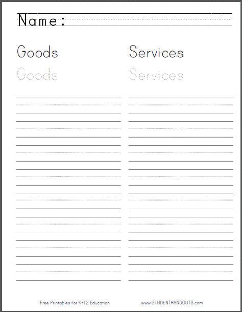 Goods And Services Worksheets by Goods And Services Worksheet For Grade 1 Student Handouts