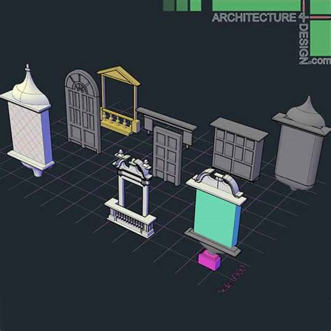 home design 3d objects 3d objects of classical architecture facades for autocad